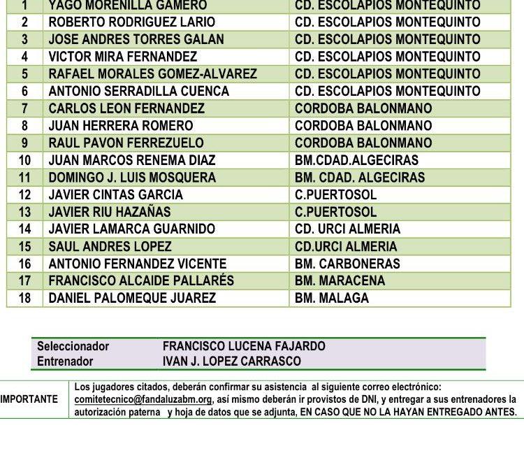 11 jugadores de la cantera quinteña con las selecciones andaluzas